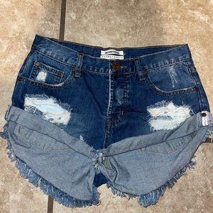 One Teaspoon Bandits Denim Distressed Shorts 25